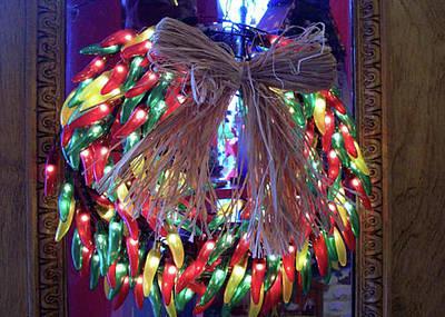 Lighted Chili Wreath Art Print