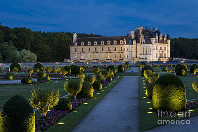 Lighted Gardens Of Chenonceau Art Print