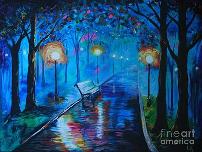 Painting - Lighted Parkway by Leslie Allen