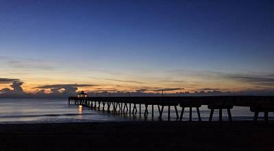 Photograph - Lighted Pier  by Juan Montalvo