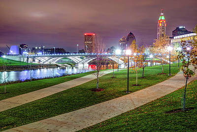 Photograph - Lighted Walkway To The Columbus Skyline by Gregory Ballos