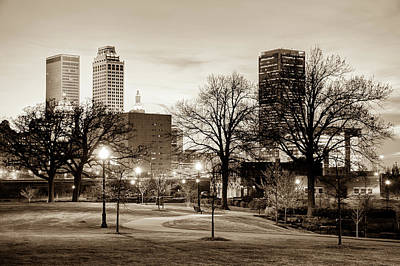 Photograph - Lighted Walkway To The Tulsa Oklahoma Skyline True Sepia  by Gregory Ballos