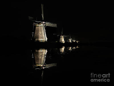 Photograph - Lighted Windmills In The Black Night by IPics Photography