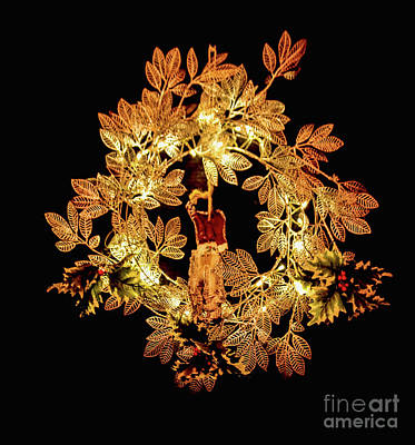 Photograph - Lighted Wreath by Steven Parker