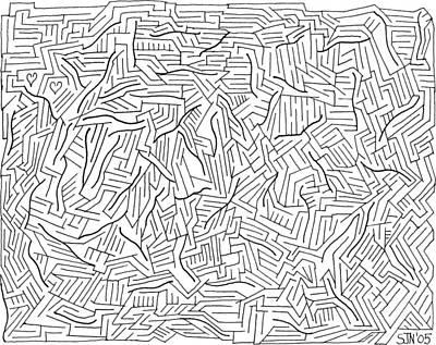 Maze Drawing - Lightening by Steven Natanson