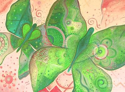 Lighthearted In Green On Red Art Print