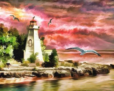 Coastal Landscape Mixed Media - Lighthouse And Color by Zin Shades