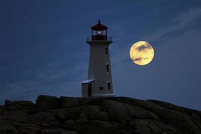 Photograph - Lighthouse And Full Moon by Gary Corbett