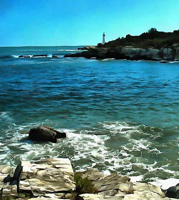 New England Lighthouse Digital Art - Lighthouse And Breakers by Judy Coggin