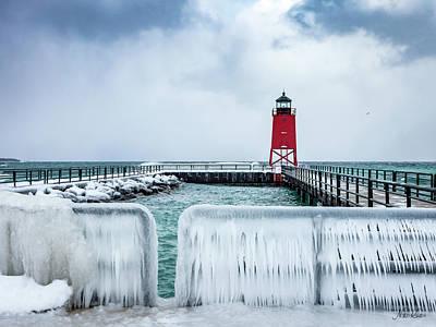 Lighthouse And Ice Art Print