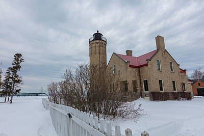 Print featuring the photograph Lighthouse And Mackinac Bridge Winter by John McGraw