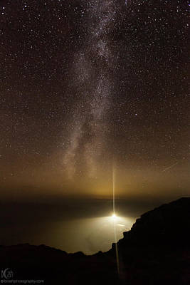 Photograph - Lighthouse And Milky Way by Beverly Cash