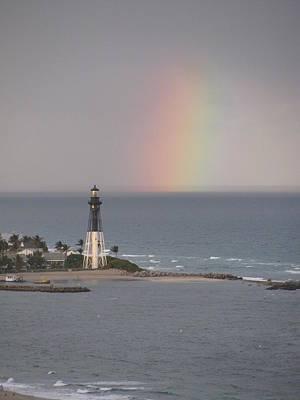 Lighthouse And Rainbow Art Print