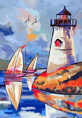lighthouse and Sailbouts Art Print