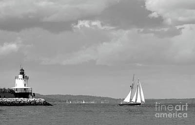Photograph - Lighthouse And Schooner, Portland, Maine #30096-bw by John Bald