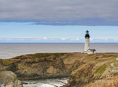 Design Photograph - Lighthouse And Sea Cliffs by Marv Vandehey