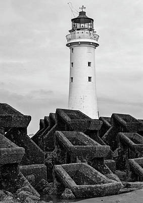 Photograph - Lighthouse And Sea Wall by Beverly Cash