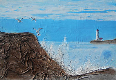 Mixed Media - Lighthouse And Seagulls by Angela Stout