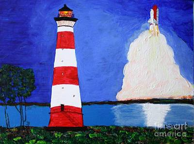 Painting - Lighthouse And Space Shuttle by Bill Hubbard
