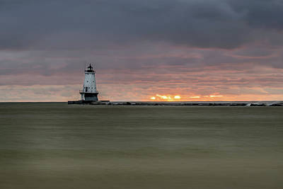 Photograph - Lighthouse And Sunset by Lester Plank