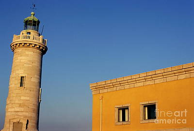 Lighthouse And Yellow Building At The Entrance Of The Port Of Marseille Art Print by Sami Sarkis