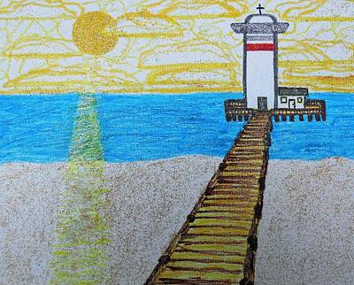 Lighthouse And Yellow Sun Art Print