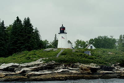 Lighthouse At Boothbay Harbor Art Print by Lois Lepisto