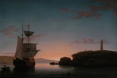 Painting - Lighthouse At Camden Maine By Fitz Henry Lane 1851 by Fitz Henry Lane