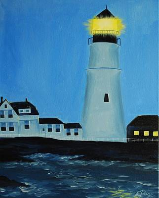 Lighthouse At Night Painting - Lighthouse At Dusk by Emily Page