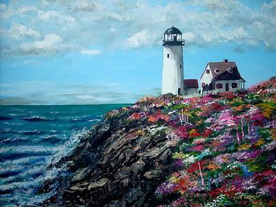 Lighthouse At Flower Point Art Print by Jack Skinner