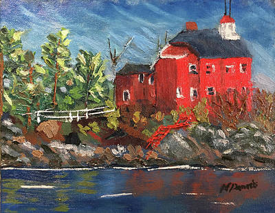 Painting - Lighthouse At Marquette by Michael Daniels