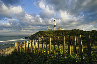 Montauk Point Lighthouse Photograph - Lighthouse At Montauk With Dramatic Sky by Skip Brown