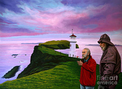 Puffin Wall Art - Painting - Lighthouse At Mykines Faroe Islands by Paul Meijering