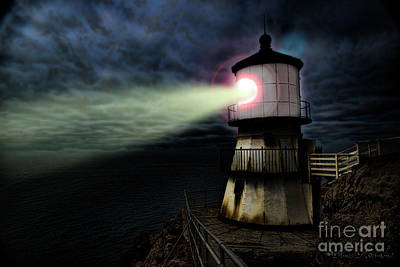 Photograph - Lighthouse At Night by David Arment