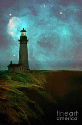Photograph - Lighthouse At Night by Jill Battaglia