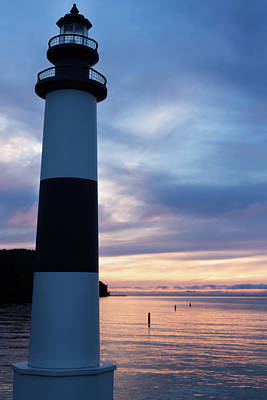Photograph - Lighthouse At Sister Bay Marina At Sunset by Jeanette Fellows