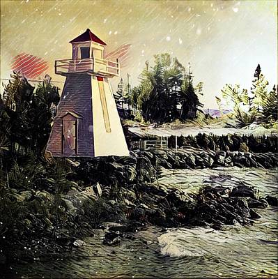 Digital Art - Lighthouse At South Baymouth by Julius Reque