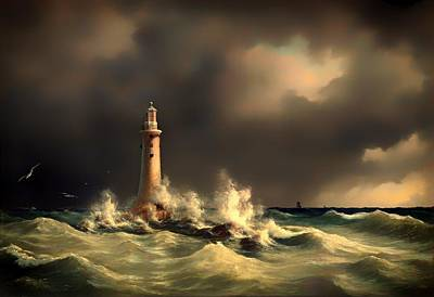 Historic Lighthouses Painting - Lighthouse At Stora Balt by Mountain Dreams