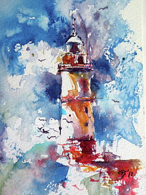 Painting - Lighthouse At Storm Cud by Kovacs Anna Brigitta