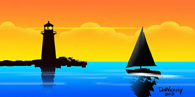 Lighthouse At Sunset Art Print by Don Macauley