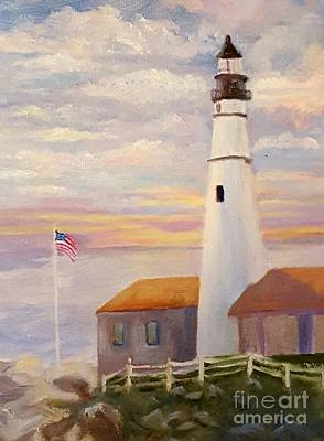 Acryllic Painting - Lighthouse At Sunset by Dorothy Weichenthal