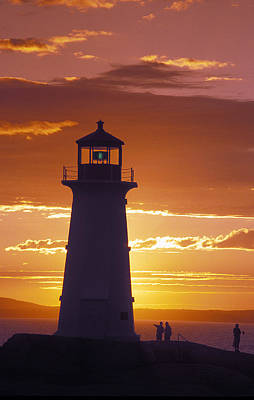 Lighthouse At Sunset In Peggys Cove Print by Richard Nowitz