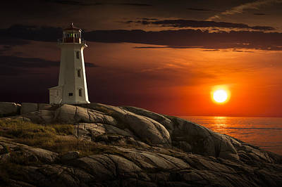 Photograph - Lighthouse At Sunset In The Peggy's Cove by Randall Nyhof