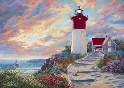 New England Lighthouse Painting - Lighthouse At Sunset by Lucie Bilodeau