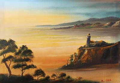 Painting - Lighthouse At Sunset by Remegio Onia