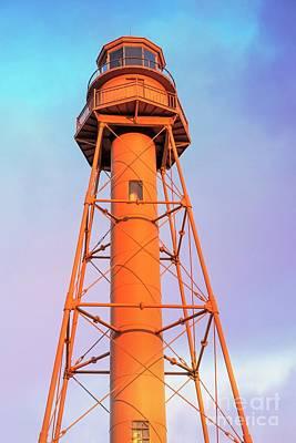 Photograph - Lighthouse At Sunset Sanibel Island Captiva Island by Edward Fielding
