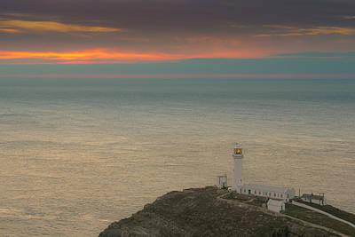 Photograph - Lighthouse At Sunset,south Stack, Anglesey,north Wales by Andy Astbury