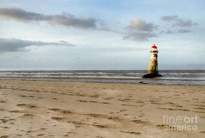 Wales Mixed Media - Lighthouse At Talacre by Yoursbyshores Isabella Shores