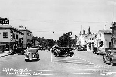 Photograph - Lighthouse Avenue Downtown Pacific Grove, Calif. 1935  by California Views Mr Pat Hathaway Archives