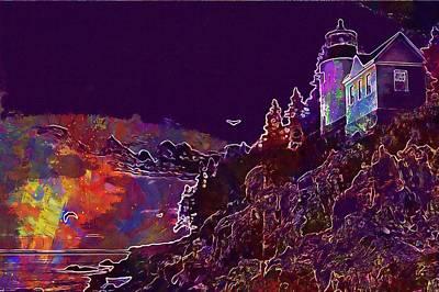 Digital Art - Lighthouse Bar Harbour Maine Sunset  by PixBreak Art